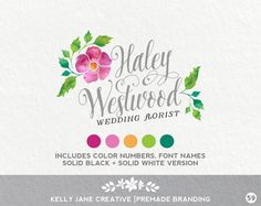 Watercolor Floral Logo - Premade Logo Design by KellyJaneCreative https://www.etsy.com/listing/225622309