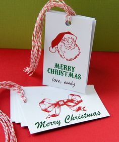 Vintage Santa & Bow Personalized Christmas Gift Tags Combo Set by Scrap Bits