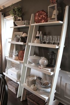 The Fat Hydrangea: Fall Dining Room Decor scafolding shelves? Living Room Shelves, Pallet Shelves, Leaning Shelves, Ladder Bookshelf, Deco Design, Room Inspiration, Tv Mounting, Mounting Brackets, Window