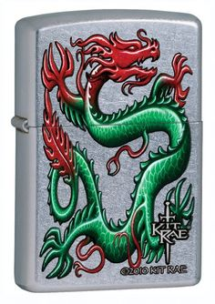 Zippo Lighter Kit Rae-Green Dragon, Street Chrome.  ZippoCollectibles.com