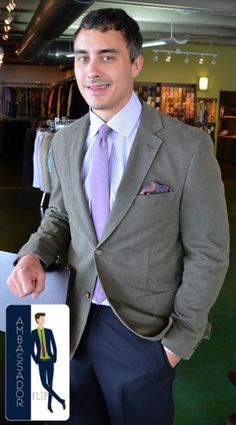 Meet Tom, a FLIP Ambassador! Tom came in recently and found this great outfit for a wedding! The Kroon jacket paired nicely with a little pop of purple in the FLIP tie & pocket square! Thanks Tom
