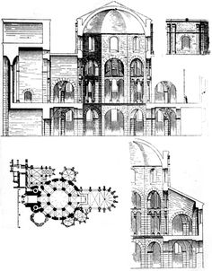 Section of the Palatine Chapel of Charlemagne circa 800