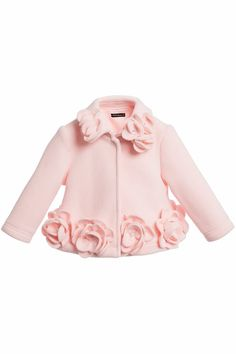 Baby girls pink fleece coat by Kate Mack & Biscotti. In a smart style, the coat has a popper fastener and is decorated with flower appliques with diamante jewel centres. The jacket is soft and lightweight Little Girl Outfits, Little Girl Fashion, Kids Outfits, Kids Fashion, Cute Outfits, Baby Outfits, Baby Girls, Baby Girl Dresses, Kids Dress Wear