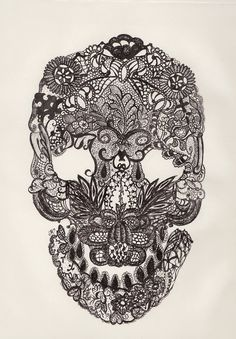 Lace skull. Micron on Paper, 2011 © Jessa Moulin
