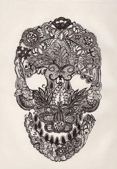 Lace skull. Micron on Paper, 2011 © Jessa Moulin