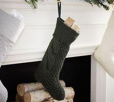 Chunky Knit Stocking, Hunter Green, Medium