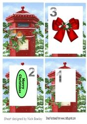Red letter box with robins with snow   bow tunnel pyramids on Craftsuprint - View Now!