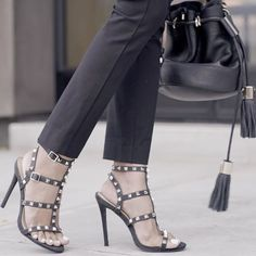 53a0b84746d Black studded heels by Missguided Black bucket bag by See By Chloé   losangeles  shoes