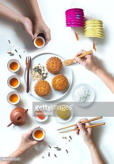 Flat lay conceptual mid-autumn festival celebration food and drink. Festival Celebration, Food Festival, Chinese Cake, Chinese New Year Food, Mid Autumn Festival, Moon Cake, Food Photo, Food Styling, Food Art
