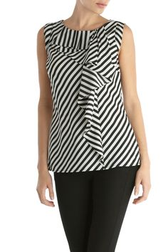 Facetasm - Ruffled Striped Cotton-jersey T-shirt - White Blouse Styles, Blouse Designs, Summer Blouses, Mode Hijab, Blouse Dress, Indian Designer Wear, Fashion Outfits, Womens Fashion, Fashion Boutique
