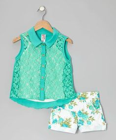 Take a look at this Mint Flower Lace Top Set on zulily today! Little Girl Outfits, Little Girl Fashion, Baby Outfits, Toddler Fashion, Toddler Outfits, Kids Outfits, Kids Fashion, Cute Outfits, Babies Fashion
