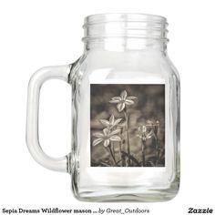 Sepia Dreams Wildflower mason jars. Mason Jar