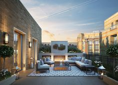 Properties for sale in Kensington and Chelsea Borough, London Rooftop Design, Terrace Design, Rooftop Terrace, Rooftop Gardens, Outdoor Lounge, Outdoor Areas, Outdoor Living, Outdoor Decor, Modern Outdoor Furniture