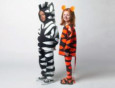 6 Easy DIY Halloween Costumes for Kids (pictured: simple duct tape zebra & tiger costumes)