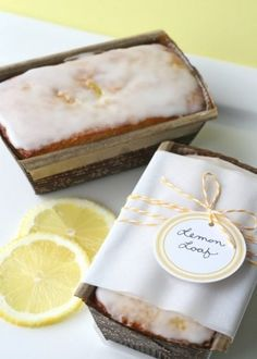 """Lemon bread wrapped so pretty…yes, please!  This would be perfect for a summer wedding."""