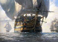 Geoff Hunt paintings - Google Search Old Sailing Ships, Hms Victory, Ship Of The Line, Ship Paintings, Wooden Ship, Nautical Art, Navy Ships, Ship Art, Model Ships