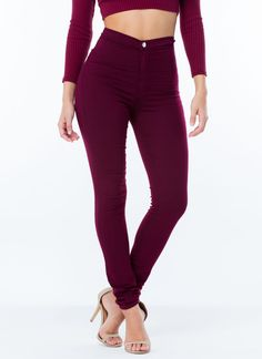 Yessss, Me WANTS it!!!! Poured Into My High-Waisted Jeggings BURGUNDY