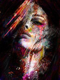 Abstract Graffiti Art Wall Paintings Print On Canvas Pop Art Canvas. Graffiti Art, L'art Du Portrait, Abstract Portrait, Beauty Portrait, Arte Pop, Art Visage, Face Art, Amazing Art, Modern Art