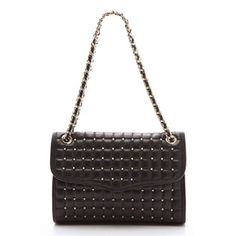 Available @stefaniBags Rebecca Minkoff QUILTED AFFAIR in Black with Light Gold Pyramid Studs & Hardware Rebecca Minkoff Handbags, Leather Weaving, Louis Vuitton Damier, Leather Handbags, Affair, Shoulder Bag, My Style, Baggage, Clutches