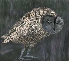 Indian ink, tusch and goache on paper, 21 x cm Owl Quilts, Owl Pet, Felt Owls, Inuit Art, Muse Art, Art Deco Posters, Bird Artwork, Animal Posters, Animal Paintings