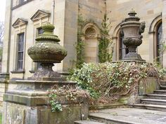 Old Urns  The urns stand either side of the doorway at the rear of Duncombe Park