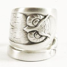 Owl Ring, Sterling Silver Spoon Ring, Bird Ring, Owl Wings, Wise Owl, Silver Owl, Handmade Jewelry, Wide Adjustable Ring Size, Boho Ring