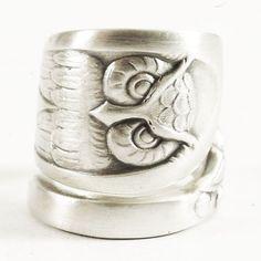 Eule-Ring, Sterling Silber Löffel Ring, Vogel-Ring Eule Wings, kluge Eule, Silberring Eule, handgemachten Schmuck Breite verstellbare Ringgröße, Boho 1757