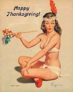 This sexy pinup looks like she is ready for Coachella. | 13 Bizarre Vintage Thanksgiving Pinups