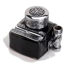 Beautiful AND serviceable -- you can't go wrong!    Glass Inkwell with 2 Pen Rests -filled with Ink