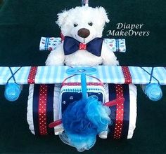 Unique Diaper  Cake - Unique Baby Shower Gift or Centerpiece - Airplane Diaper Cake - Baby Boy, Baby Girl, Neutral Baby Gift by DiaperMakeOvers on Etsy