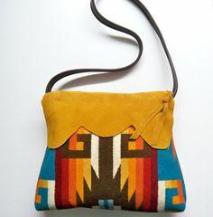 Navajo print bag fuck yes! Pendleton Bag, Pendleton Blankets, Cowhide Leather, Suede Leather, Navajo Print, Western Purses, Felt Purse, Handbag Patterns, Coin Bag