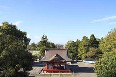 青空に映える夏の鶴岡八幡宮 舞殿です。八幡宮の本殿は上段にあり参道を見渡すことができる撮影スポット。天気が良ければ段桂も望むことができます。