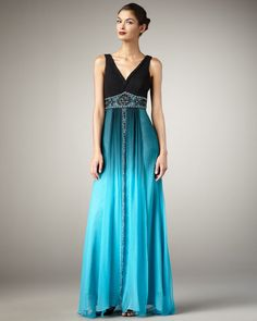 Sue Wong Vneck Ombre Gown in Blue (black turquoise o) Ombre Gown, Sue Wong Dresses, Floor Length Gown, Women's Evening Dresses, Silk Gown, Turquoise, Costume Design, Luxury Fashion, Women's Fashion
