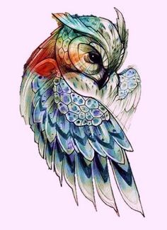 Angel wing tattoo designs are inked as back pieces, lower back tattoos, and smaller designs that can be placed anywhere on the body. Owl Tattoo Drawings, Bird Drawings, Animal Drawings, Tattoo Owl, Owl Tattoos, Tatoos, Pencil Drawings, Owl Tattoo Design, Tattoo Designs