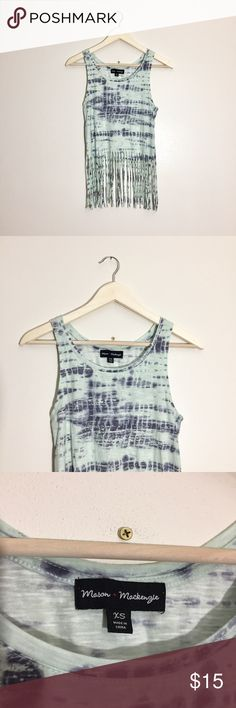 Tie-dye fringe tank top Fun and flirty tie-dye semi crop tank top with long fringe bottom. In great condition. Perfect for an upcoming festival or day at the beach. Throw on over your swimsuit with a pair of distressed jean shorts or wear with leggings and converse or Birkenstocks. Mason + Mackenzie Tops Tank Tops