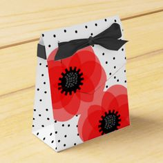 Stylish wedding or party favors with beautiful whimsical red poppies on a black and white polka dot spotted base. Such a classy look your guests are bound to be impressed. Don't forget to customize them with your own personal details and best of all there is no extra charge. #red-black #red #black #floral #flowers #red-flowers #red-black-white #black-white #polka-dot #spots #stylish #classy #wild-flowers #whimsical-flowers #flowery #floral-theme #red-theme #elegant #red-favors #diy-favors…