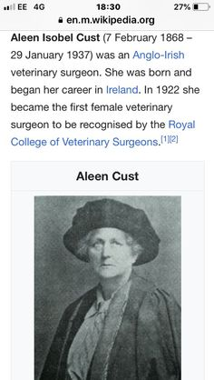 Anglo-Irish veterinary surgeon Aleen Cust, the first female veterinary surgeon to be recognized by the Royal College of Veterinary Surgeons