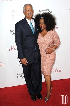 """Oprah Winfrey in custom Theia   pictured with Stedman Graham at the NYC premiere of """"The Butler"""""""