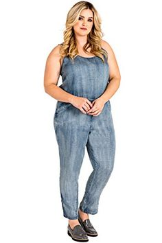 Fensajomon Womens Solid Retro Pockets Strappy Casual Loose Sleeveless Denim Overalls