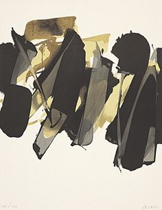 "Pierre Soulages (Born 1919 Rodez) ""Lithography No. 14"" Colour lithograph 1964 65 x 50 cm Fig. 48.5 x 50 cm"