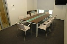 SQUARE conference table with glass inlay