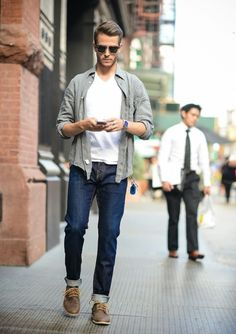 Picture Of a white t shirt, navy jeans, an olive grey shirt and brown shoes