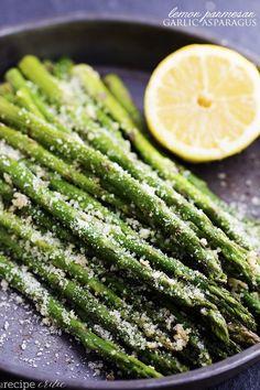 Roasted Lemon Parmesan Garlic Asparagus @FoodBlogs
