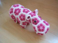 Crochet hippopotamus made out of African Flowers