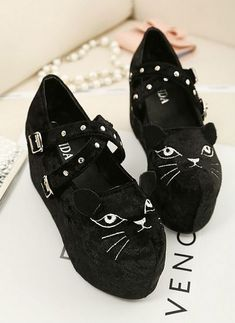 Kawaii Cat Kitty Face Velvet Platform Shoes FREE SHIPPING