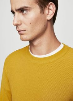 MANGO MAN Ribbed detail sweater