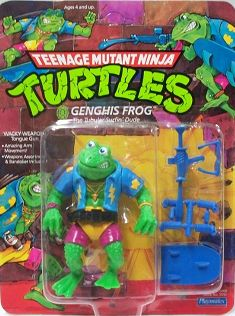 These frogs were awesome. Krang sent the Shredder a can of Ooze and it went to Florida instead of the Techno Drone exposing 4 frogs to the Ooze and turning them into Teenage Mutant Frogs. Shredder finds them, names them after bad guys from history and teaches them how to steal.
