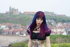 Vampire girl at whitby abbey, where bram stoker wrote the dracula novel. See more from whitby gothic weekend at http://www.lacarmina.com/blog/2015/05/whitby-goth-weekend-fashion-steampunk-goths/  la carmina whitby goth weekend