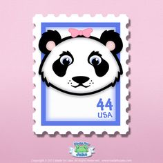 Baby Girl Panda Bear Decorative Art Stamp for Nursery or Childrens Room, Wall Print (8x10)
