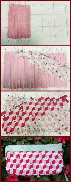 Schrägbändern gewebtes Täschchen                                                                                                                                                                                 Mehr